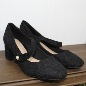 Kelly & Katie Black Lace Heels with Pearl Button